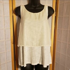 *Worn Once* AE Cream Shimmer Layered Tank